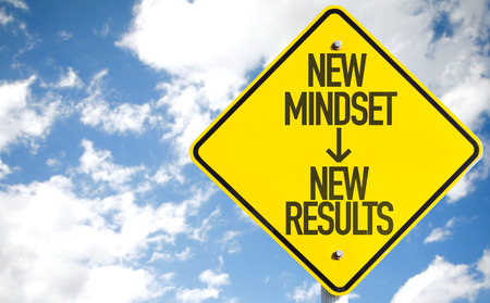 New mindset - new results sign with clouds and sky background