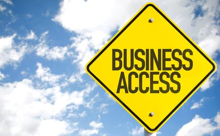 Business access sign with clouds and sky background