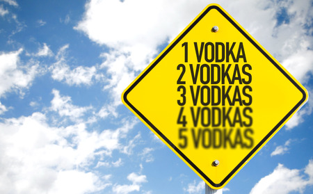1 vodka...5 vodkas sign with clouds and sky background