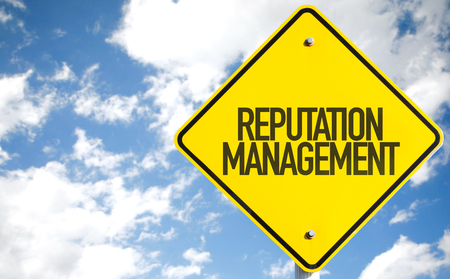 Reputation management sign with clouds and sky background
