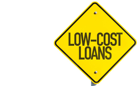 Low-cost loans sign on white background