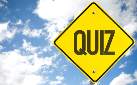 Quiz sign with clouds and sky background