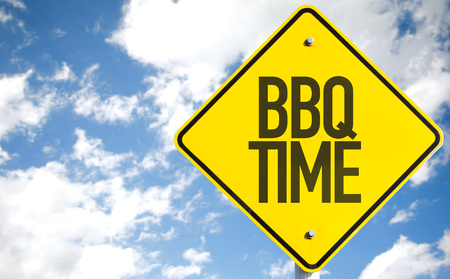 BBQ time sign with clouds and sky background