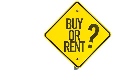 Buy or rent? sign on white background