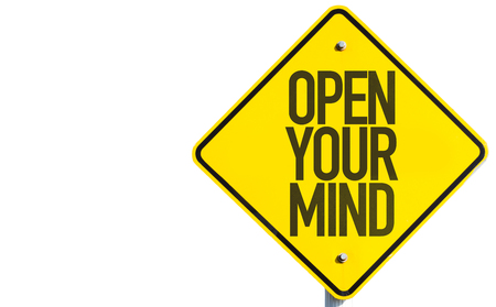 open minded: Open Your Mind sign isolated on white background Stock Photo