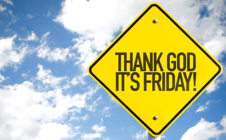 weekdays: Thank God Its Friday sign with beach background Stock Photo
