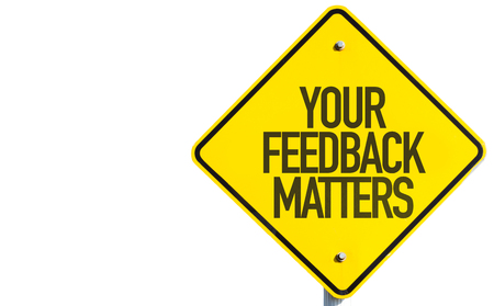 criticize: Your Feedback Matters sign isolated on white background
