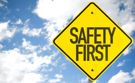 precaution: Safety First sign with sky background