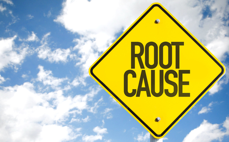 cause and effect: Root Cause sign with sky background Stock Photo