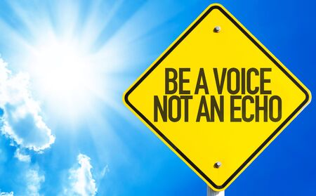 echo: Be a Voice Not An Echo sign with sky background