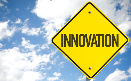 technically: Innovation sign with sky background Stock Photo
