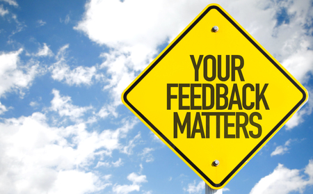 business matter: Your Feedback Matters sign with sky background