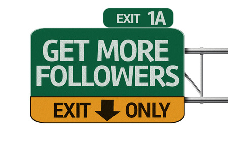 followers: Get More Followers road sign isolated on white Stock Photo