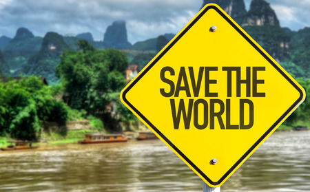 reusing: Save The World sign with exotic background Stock Photo