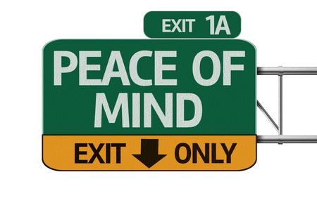 mente: Tranquilidad carretera signo aislado sobre fondo blanco Foto de archivo