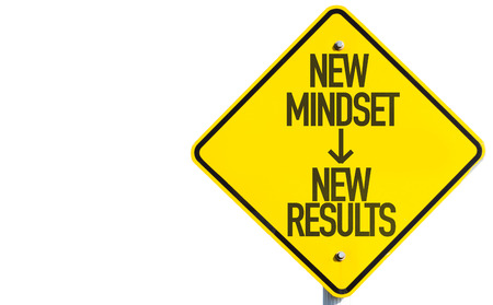 New Mindset - New Results sign isolated on white background Stock Photo
