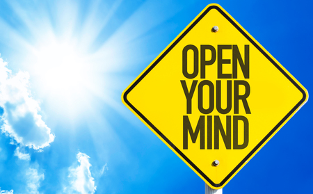 free your mind: Open Your Mind sign with sky background
