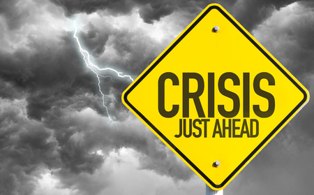 Crisis Just Ahead sign with a bad day Stock fotó - 49618835