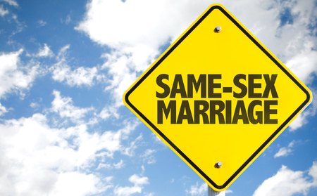 sex traffic: Same-Sex Marriage sign isolated on sky background