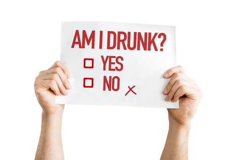quoted: Am I Drunk placard isolated on white Stock Photo
