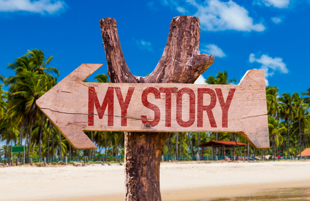 biography: My Story arrow with beach background