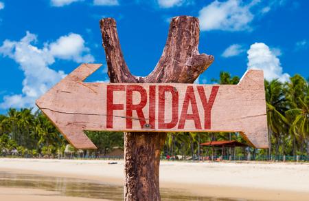weekdays: Friday arrow with beach background Stock Photo