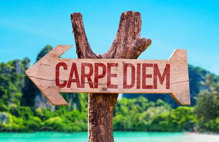 carpe diem: Carpe Diem arrow with beach background Stock Photo