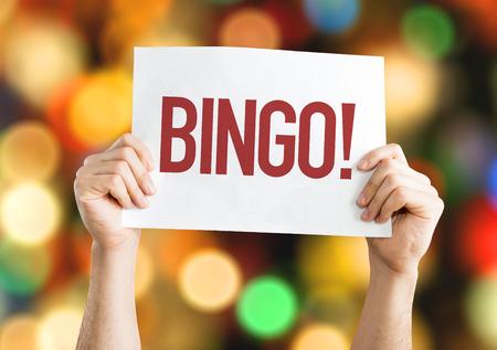 Bingo! aanplakbiljet met bokeh achtergrond