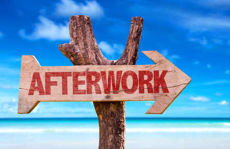 mind: Afterwork arrow with beach background Stock Photo