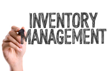 distribution board: Hand with marker writing: Inventory Management Stock Photo