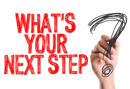 Hand with marker writing: Whats Your Next Step Stok Fotoğraf