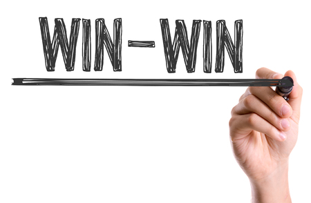 resolution: Hand with marker writing the word Win-Win
