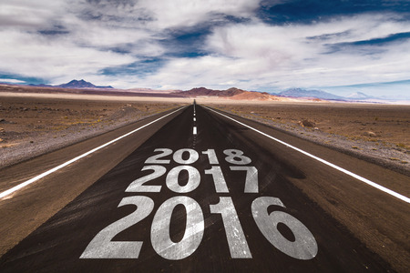 next horizon: 2016 2017 2018 written on desert road