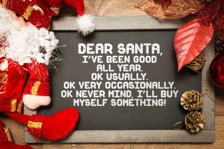 santa funny: Blackboard with a Christmas Funny text in a conceptual image