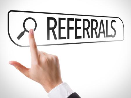 referrals: Referrals written in search bar on virtual screen