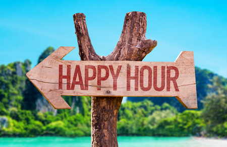 Happy Hour arrow with beach background