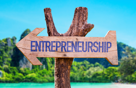 entrepreneurial: Entrepreneurship arrow with beach background