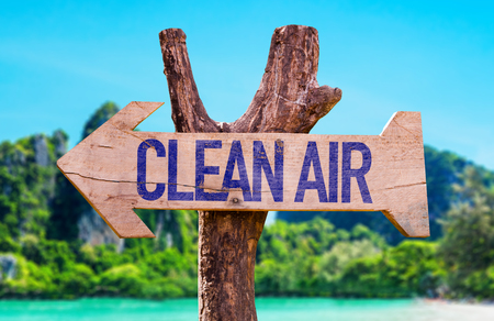 Clean Air arrow with beach background Stock Photo