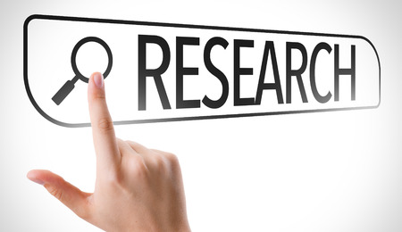 search results: Research written in search bar on virtual screen Stock Photo