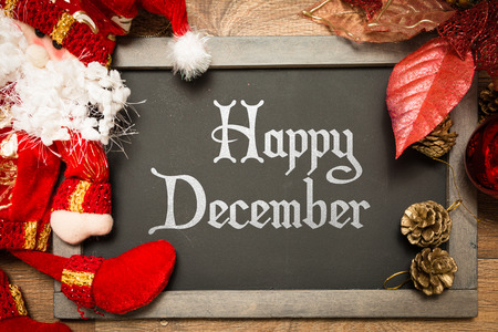 Happy December written on blackboard