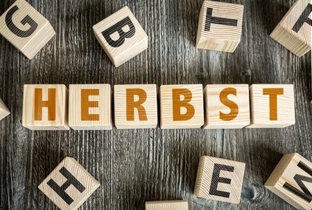 herbst: Herbst (Autumn in German) written on a wooden cube background