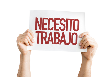 Hands holding cardboard on white background with text: Necesito trabajo (need a job in Spanish) Stock Photo
