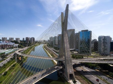 Aerial view of famous bridge in Sao Paulo, Brazil