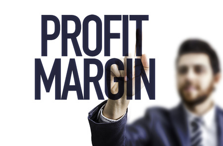 margin: Business man pointing to transparent board with text: Profit margin Stock Photo