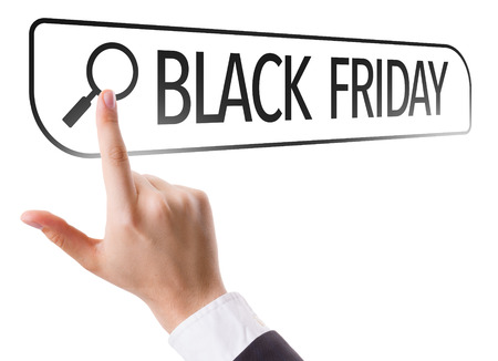 url virtual: Hand searching online on white background with text: Black Friday Stock Photo