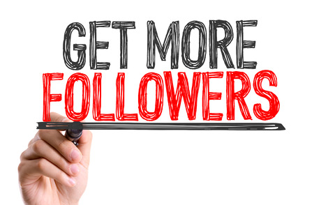 followers: Handwriting on white background with text: Get more followers Stock Photo