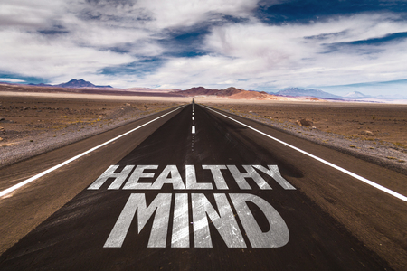 Healthy mind written on the road sign with clouds and sky background Stock Photo