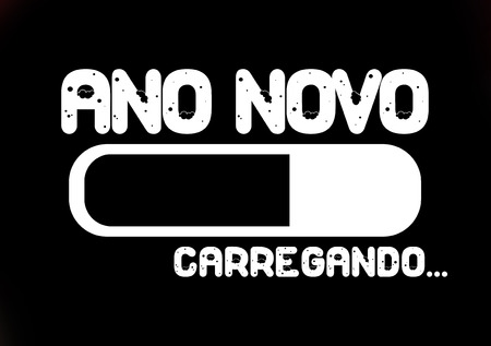 ano: Progress bar loading with the text: Ano novo (new year in Portuguese)
