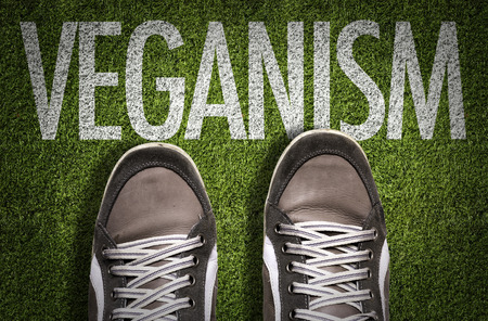 Text on field with shoes background: Veganism