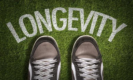 longevity: Text on field with shoes background: Longevity Stock Photo